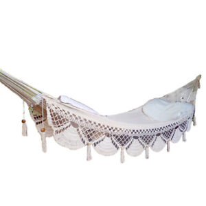 Image Is Loading Mayan HAMMOCK Crochet Fringe Beige White Hanging Chair