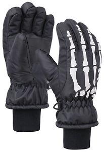 Boys-Kids-Cool-Waterproof-Skeleton-Print-Warm-Winter-Ski-Snow-Gloves-Mittens