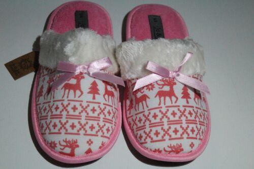 Ladies Womens Winter Xmas Warm Soft Furry Flat Slipper Mule Reindeer Christmas