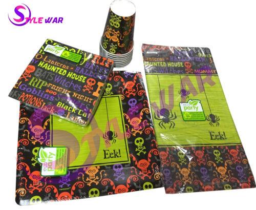 Napkins Cups,Spooky Eek Pumpkin Tableware New Halloween Party Supplies Plates
