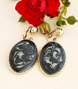 Enamel Blue White Swirl Earrings Clip Ons Gold Tone Vintage