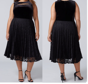 38a5fb400dc0 NWT Lane Bryant Dress 20 2x Cut out Key Hole Velvet Lace Pleated ...