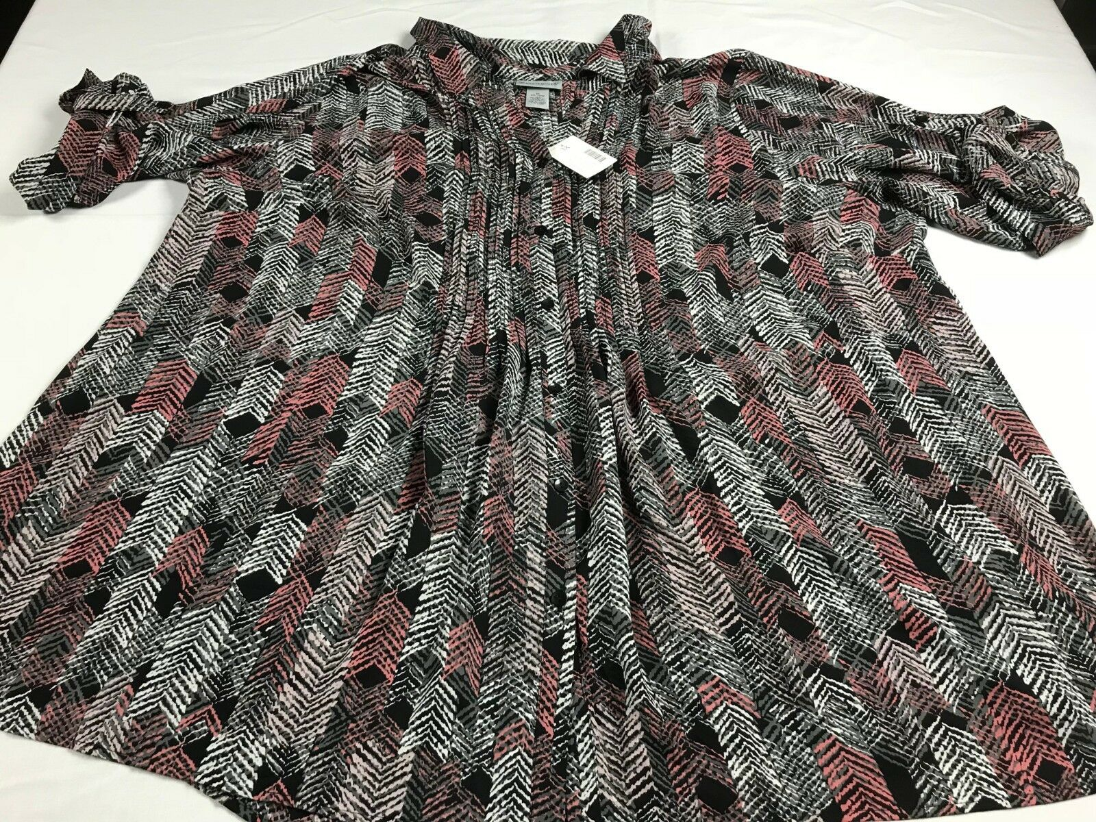 NWT Catherines 3X 26 28 Farbeful Button Front Pin Tuck Blouse Shirt Top