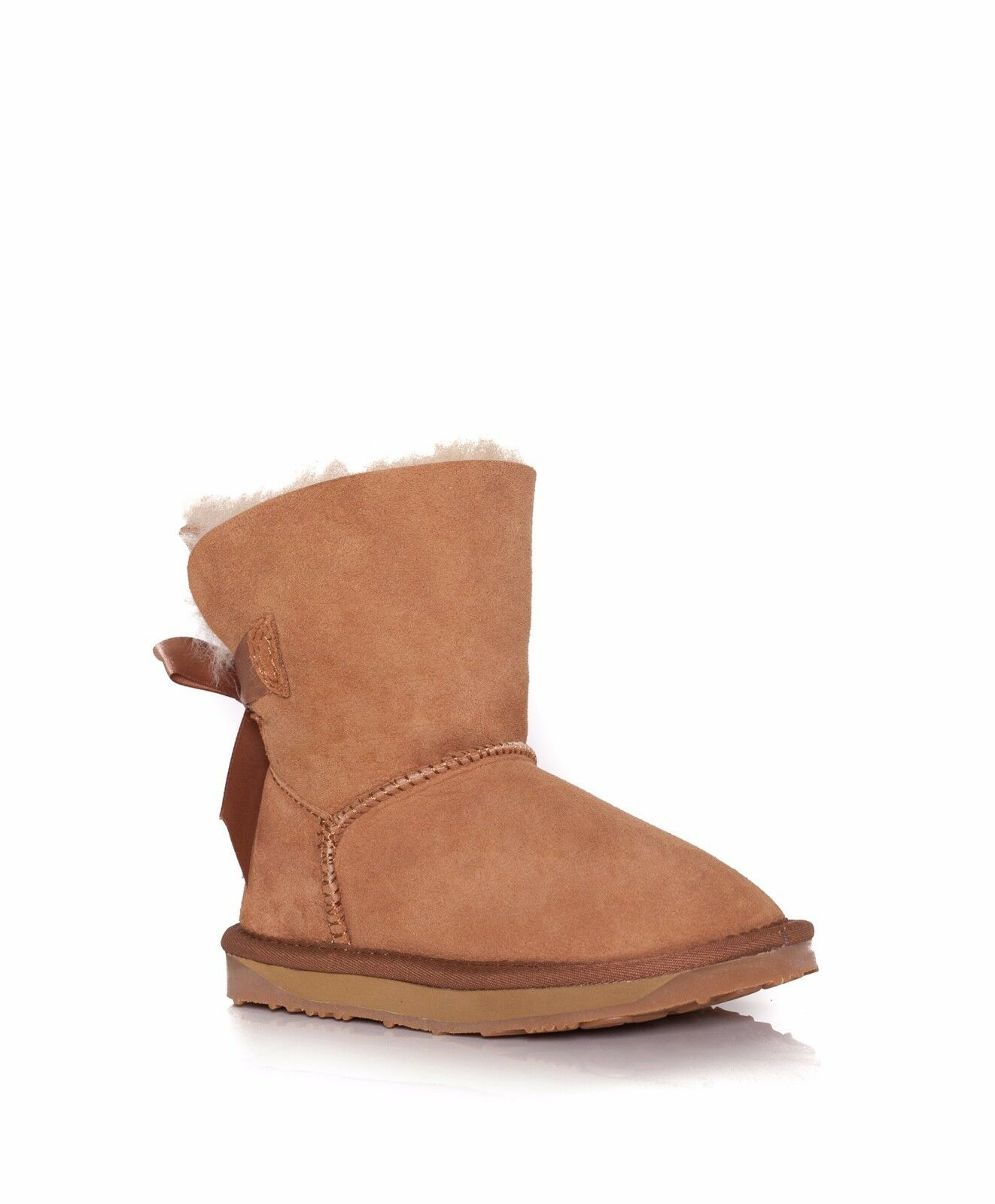 7a4d24971e6 Kids Boy Girl 100 Australian Sheepskin Ever UGG BOOTS Back Bailey Bow 10/11  Chestnut
