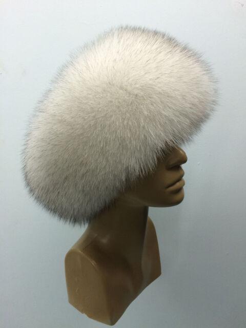 Saga Blue Fox Fur Hat Leather Top Natural White Fur 6c2cf118864