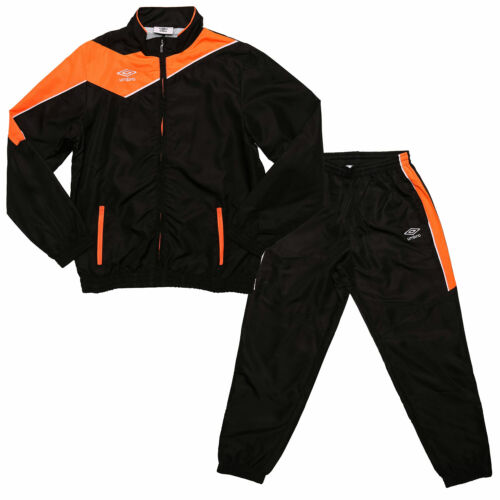 Zip Jacket: Junior Boys Umbro Division Lined Tracksuit In Black Orange