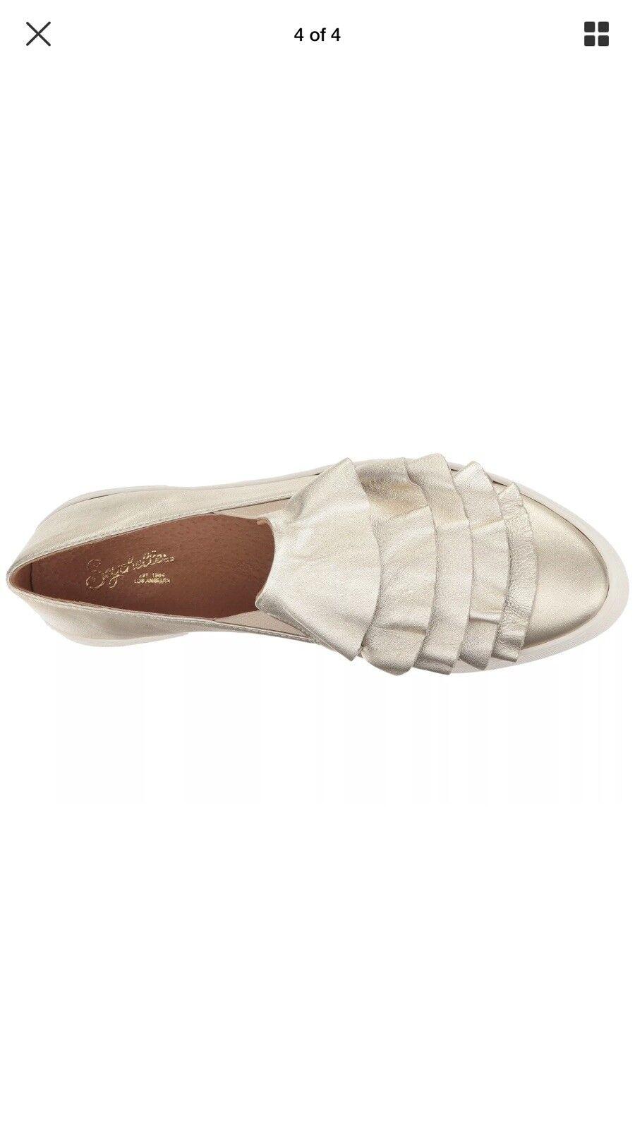 NIB NIB NIB SEYCHELLES Quake gold Leather Loafers 09664b