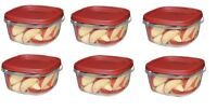 RUBBERMAID PACK of 6 - 5 CUP EASY FIND LID SQUARE FOOD CONTAINER 1777087 NEW RED