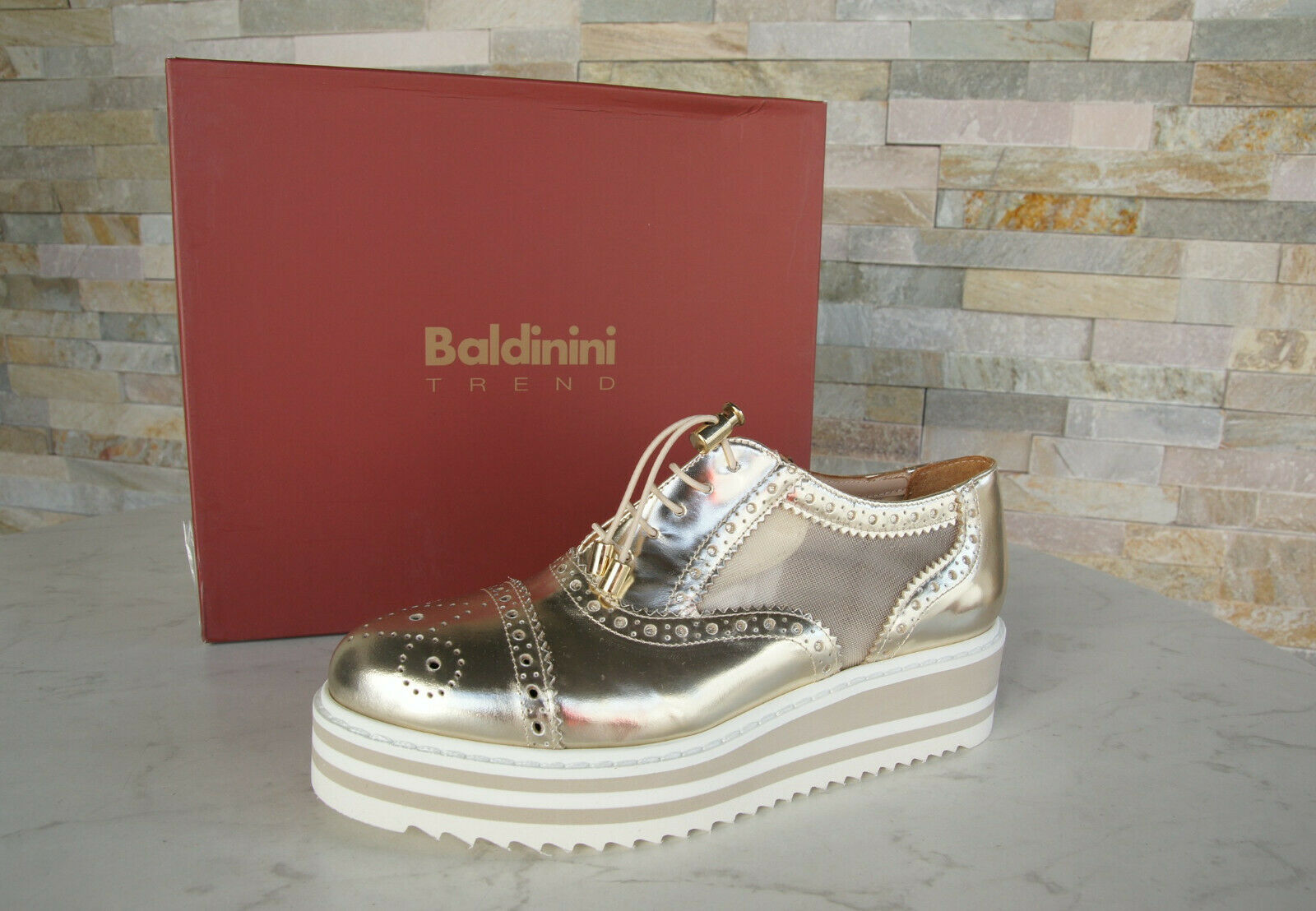 Baldinini Trend 36 Platform Lace-Up Loafers shoes gold New Formerly Rrp