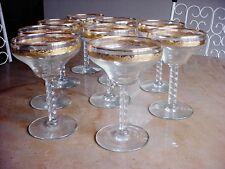 Set 9 Vintage Cocktail Sparkling Wine Drinking Glass Gold Encrusted Stemware