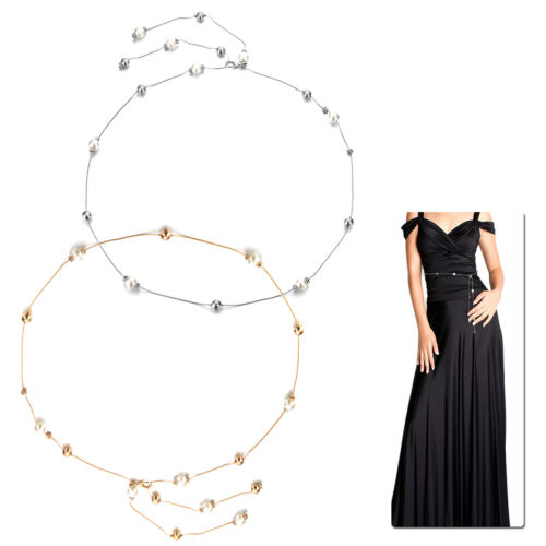 Women Pearl Diamante Waist Belts Gold Silver Beads Ladies Charm Party Accessory