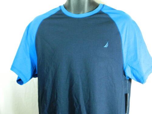 Nautica Men/'s Marine Blue Baseball Sleep Tee Shirt    Size Medium