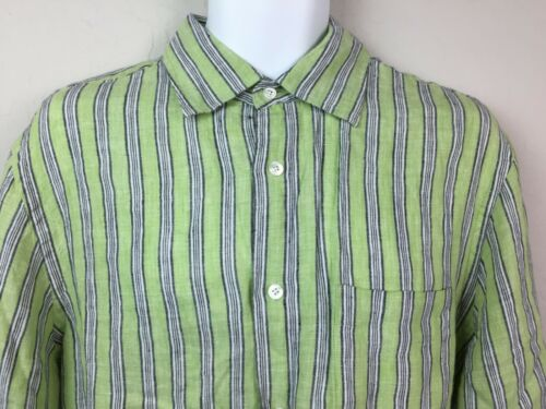 Express Men's Green Striped Button Up Shirt White