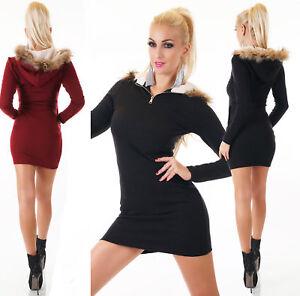 Women-039-s-Jumper-Dress-Hooded-Faux-Fur-Sweater-Long-Sleeve-Jumper-Size-6-14