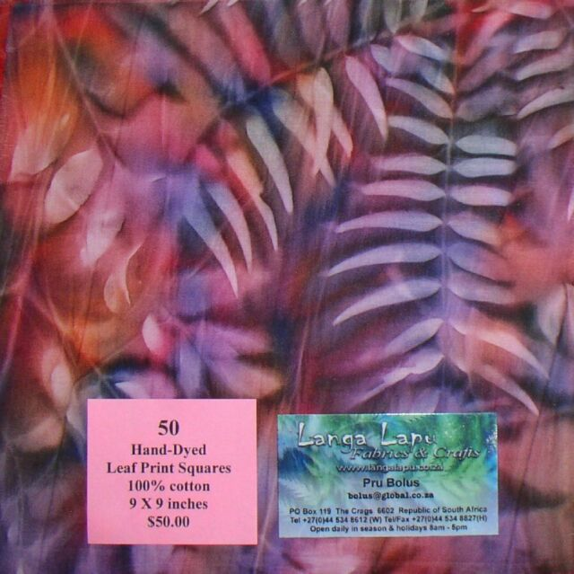 50 Hand-Dyed Leaf Print Squares from Langa Lapu Fabrics Republic of South Africa