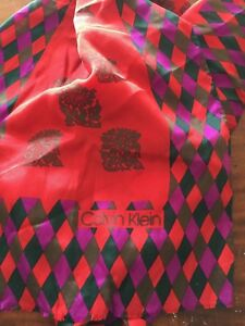 Vintage-Calvin-Klein-Old-Stock-with-Tags-100-SILK-LONG-WOMEN-SCARF-46-034-X-11-034