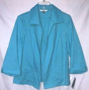 Alia Womens Blue Cotton Open Front Jacket Size 8 New $65