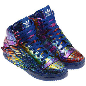 huge selection of 7e549 df45f Details about adidas OBYO x Jeremy Scott Wings Rainbow Hologram Trainers  Shoes 10 UK