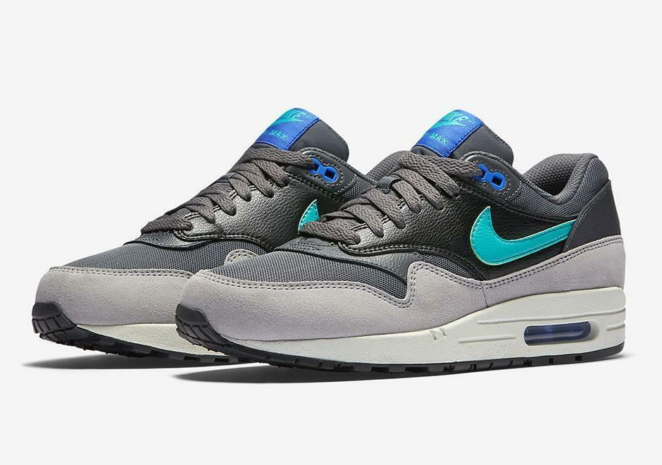 WMNS NIKE AIR MAX 1 ESSENTIAL 599820 023 DARK GREY/HYPER JADE-RACER BLUE-BLACK Comfortable and good-looking
