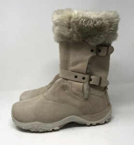 Details about Salomon Contagrip Women's Suede Winter Snow Boots Size 8 Fur Lined Beige Buckle