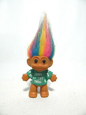 "Vintage 3"" Russ Troll Doll Rainbow Hair Lucky Lottery Troll in Green Shirt 1990s"