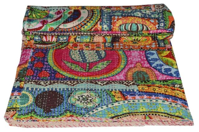New Indian Cotton Handmade Twin Size Ralli Kantha Quilt Bedspread Throw Coverlet