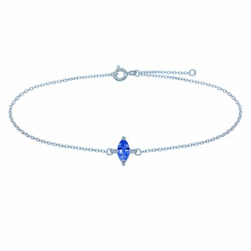 Fusskette Fusskettchen Kristall Blau 925 Silber