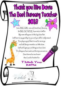 Personalised Poem Laminated Gift THANK YOU TEACHER