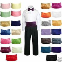 27 Color Satin Baby To Teen Boys Cummerbund + Bow Tie Set For Tuxedos Suits S-28
