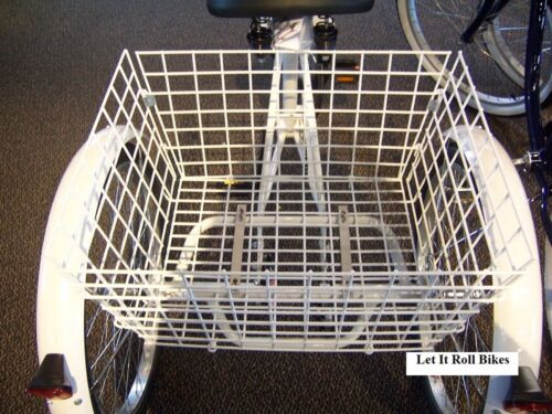 Tricycle 3-Wheeler Basket White Steel Foldable Trikes New