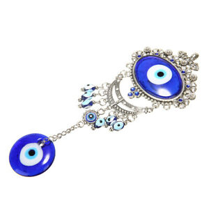 Turkish-Oval-Blue-Evil-Eye-Amulet-Car-Wall-Hanging-Blessing-Protector-Gift-Metal