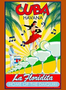 Cuba-Cuban-Havana-Floridita-Daiquiri-Caribbean-Travel-Advertisement ...