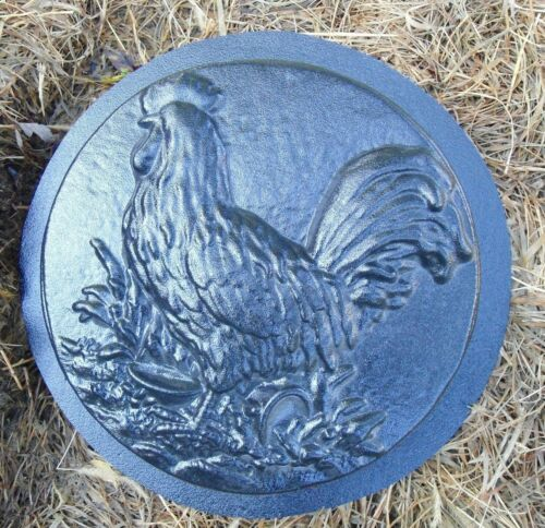 """Rooster stepping stone mold plaster concrete casting mould 12/"""" x 2/"""" thick"""