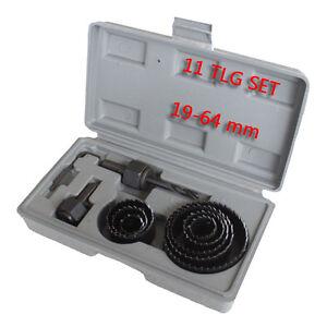 11-TLG-LOCHBOHRER-SATZ-19-64mm-DOSENBOHRER-BOHRKRONEN-LOCHSAGE-Holzbohrer-Bohrer
