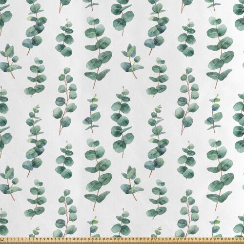 Eucalipto satén de tela en piezas acuarela como hojas