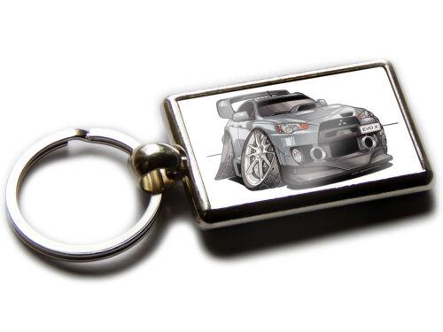 MITSUBISHI EVO X FQ 440 MR Sports Car Koolart Chrome Keyring Picture Both Sides