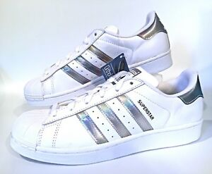 the latest d7dac 1eb98 Image is loading Adidas-Originals-Superstar-J-Shell-Toe-White-Metallic-