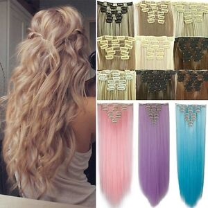 Long Thick Clip In Hair Extensions Blonde Full Head As Human Hair Extension H824