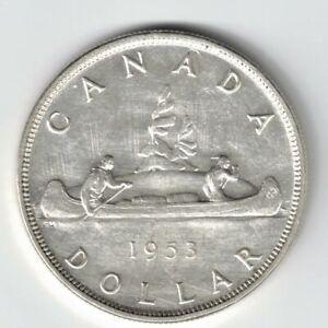 CANADA-1953-SF-SWL-VOYAGEUR-SILVER-DOLLAR-QUEEN-ELIZABETH-II-SILVER-COIN