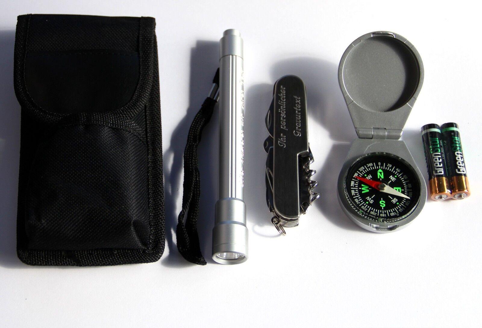 Survival set multifonction Couteau de poche avec GRAVURE lampe de OVP poche boussole OVP de 3a3622