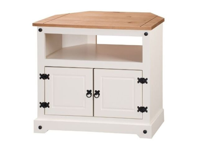 official photos b8e92 9ca6f White Corner TV Unit Stand Wooden Shabby Chic Television Cabinet Home  Furniture