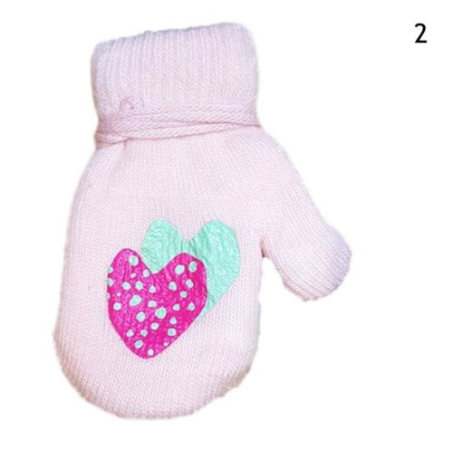 Baby Girls Toddler Winter Terry Mittens With String Gloves Sticker Size 1-5Years