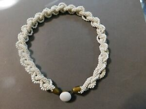 VINTAGE 1950S GLAM WHITE SEED BEAD MULTI STRAND TWIST CHOKER NECKLACE (E)
