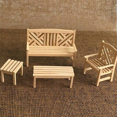 DIY Unpainted 1//12 Dollhouse Miniature Furniture Bench Chair Table Sets