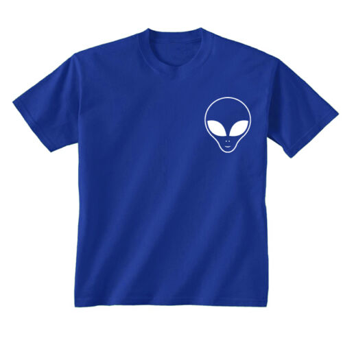 Kids Childrens Alien Face Pocket Small Chest Print UFO Space T-shirt 5-13 Years
