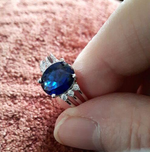 Estilo Vintage Oval Corte Azul y Blanca Piedra Anillo de plata de Tamaño R