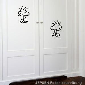 2x-Woodstock-15x10cm-S29-ML-MR-Snoopy-Aufkleber-Tuer-Wand-Spiegel-Auto-Farbwahl