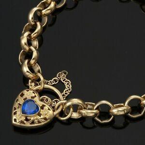 18K-Yellow-Gold-GL-Ladies-Solid-CHUNKY-Belcher-Bracelet-amp-Sapphire-Heart-Padlock