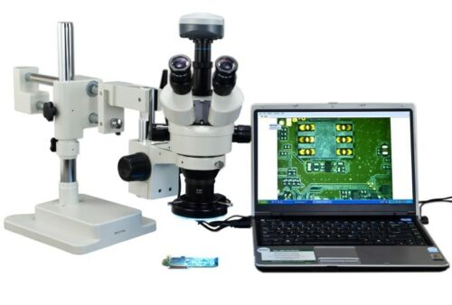 OMAX 2.1X-90X 9MP Trinocular Dual-Bar Boom Stereo Microscope with 144-LED Light