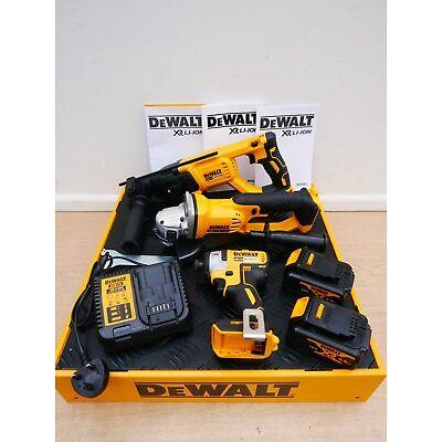 """DEWALT XR 18V DCH133 SDS DCG412 5"""" ANGLE GRINDER DCF887 IMPACT DRIVER 4 AH TSTAK"""